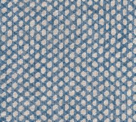 Wicker - Linen - Unevenly shaped off-white coloured polka dots against a background of midnight blue coloured 100% linen fabric