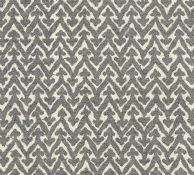 Cotton - Rabanna - Small arrows sitting atop zigzag lines in stone grey, printed on a bright white 100% cotton fabric background