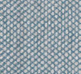 Wicker - Linen - N-104 - Pale grey-white coloured pebble-like uneven ovals on denim blue coloured fabric made entirely from linen
