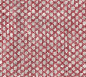 Wicker - Linen - N-087 - 100% linen fabric featuring a pattern of small grey pebble-like shapes arranged in rows over a reddish pink backgro