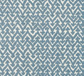 Cotton - Rabanna - Fabric made from mid-blue and white coloured 100% cotton, patterned with small arrows on top of horizontal zigzags