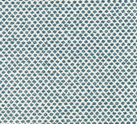 Cotton - Marden - A bright white 100% cotton background behind a repeated pattern of tiny dark marine blue coloured shapes
