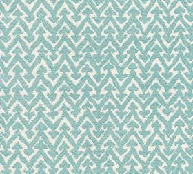 Cotton - Rabanna - 100% cotton fabric patterned with zigzags and small arrows in crisp white and baby blue colours