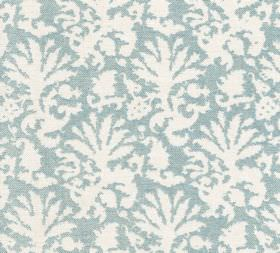 Cotton - Aylsham - A large white leaf-style design printed to cover 100% cotton fabric in light blue
