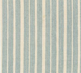 Cotton - York Stripe - Pale duck egg blue coloured stripes running at irregular intervals down a cream coloured 100% cotton fabric backgroun