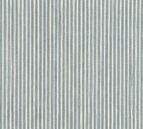 Cotton - Poulton Stripe - Fabric made from vertically striped 100% cotton in white and light blue-grey, with a narrow, regular design