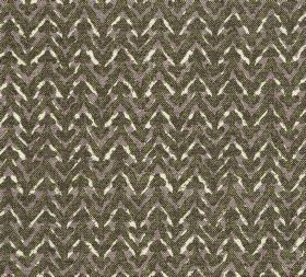Cotton - Barmillion - Horizontal zigzag lines unevenly coloured in very dark green, brown and cream, printed on fabric made from 100% cotton