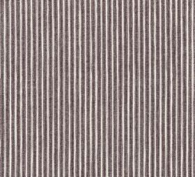 Cotton - Poulton Stripe - L-263 - Thin dark grey stripes running vertically against a background of white 100% cotton fabric