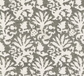 Cotton - Aylsham - Plain white leaf-style shapes printed on a background of dark grey coloured fabric made entirely from cotton
