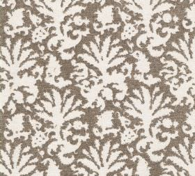 Cotton - Aylsham - Chocolate brown and white coloured 100% cotton fabric patterned with a large design that resembles leaves