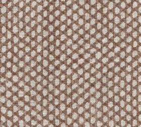 Wicker - Linen - Irregular off-white oval shapes arranged in rows over a rich brown coloured 100% linen fabric background