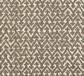 Cotton - Rabanna - L-125 - Very dark brown-grey coloured zigzags with small arrow shapes on the points printed on cream coloured 100% cotton