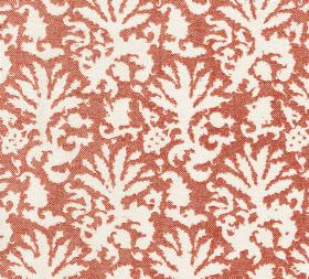 Cotton - Aylsham - L-210 - 100% cotton fabric in orange and bright white, covered with a pattern which resembles abstract leaves