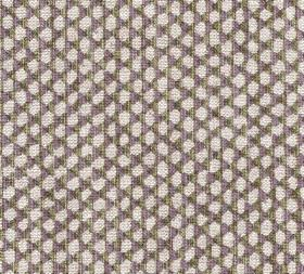 Wicker - Linen - N-107 - Off-white, dark grey and deep purple coloured 100% linen fabric featuring a pattern of irregular oval pebble-like s