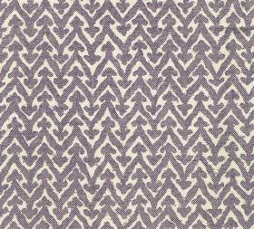 Cotton - Rabanna - Dark lavender zigzags with small arrows printed against white fabric made from 100% linen
