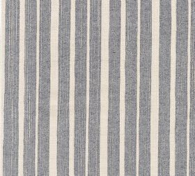 Cotton - York Stripe - Fabric made from 100% cotton with an irregularly spaced stripe design in chalk white and a dusky shade of blue-grey