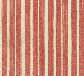 Cotton - York Stripe - Salmon pink coloured stripes running vertically down 100% cotton fabric, interspersed with cream coloured bands
