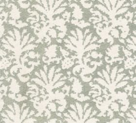 Cotton - Aylsham - Stylised leaf print fabric made from 100% cotton with a design in white and a light grey-green colour