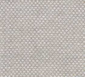 Figured - Linen - 100% linen fabric in light grey behind a repeated design of tiny white symbols and designs