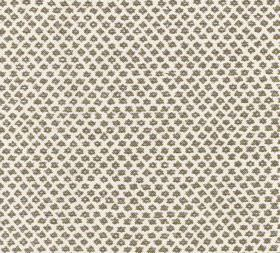 Cotton - Marden - Very dark brown-grey symbols and designs arranged in neat rows creating a pattern on 100% cotton fabric in off-white
