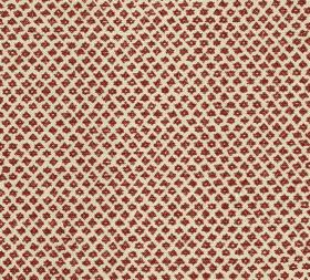 Cotton - Marden - Tiny dark blood red coloured designs arranged in uneven diagonal rows across cream coloured fabric made from 100% cotton
