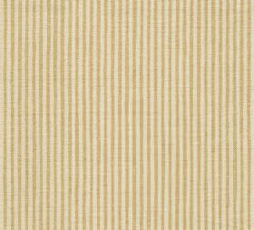 Cotton - Hertford Stripe - Fabric made from gold and cream coloured 100% cotton with a narrow vertical stripe pattern