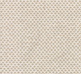 Cotton - Marden - A white 100% cotton fabric background to a repeated pattern of rows of small beige symbols and designs