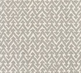 Cotton - Rabanna - White fabric made from 100% cotton patterned with grey coloured zigzags with small arrows on the tip of each point