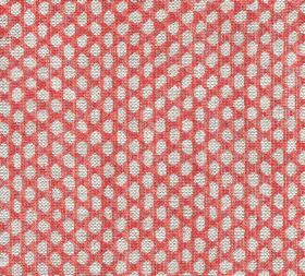 Wicker - Linen - Pale grey pebble style shapes creating a pattern over a background of light red coloured fabric made entirely from linen