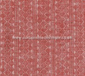 Quantock - 001 - Roughly printed rows of stripes, triangles and geometric shapes on 100% linen fabric made in light red and pale pink colours