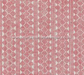 Quantock - 002 - Light pink and white 100% linen fabric, roughly printed with vertical stripes and rows of triangles and geometric shapes