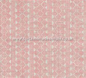Quantock - 003 - Fabric made from 100% linen in baby pink, with a roughly printed white design of stripes, triangles and geometric shapes