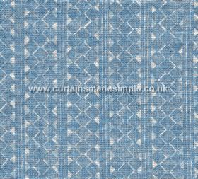Quantock - 004 - White stripes, triangles and geometric shapes printed roughly on a bright cobalt blue 100% linen fabric background