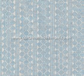 Quantock - 005 - 100% linen fabric featuring vertical stripes and rows of triangles and geometric shapes in white and pale baby blue