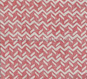 Chiltern - 001 - White zigzags and short dashed lines patterning a dark red-pink 100% linen fabric background