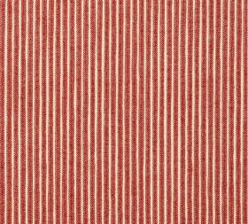 Cotton - Poulton Stripe - Narrow stripes of dark blood red and cream running regularly and vertically down 100% cotton fabric