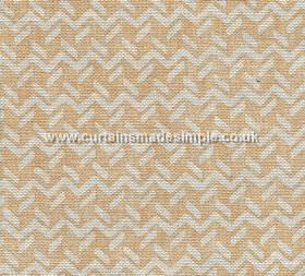 Chiltern - 002 - Off-white and creamy beige coloured fabric made from 100% linen, patterned with horizontal zigzags and short, dashed lines