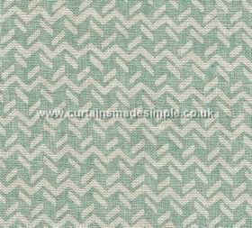Chiltern - 003 - Duck egg blue coloured fabric made from 100% linen, featuring zigzag lines and short, dashed lines in pale grey-white