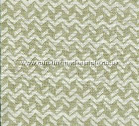 Chiltern - 004 - 100% linen fabric made in grey-green and off-white, featuring a pattern of short dashed lines and horizontal zigzags