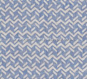 Chiltern - 005 - Fabric made from 100% linen in bright cobalt blue, patterned with a white design of short dashed lines and zigzags