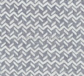 Chiltern - Linen - CHIL-007 - 100% linen fabric featuring horizontal zigzags and short dashed lines in chalk white on a dark blue-grey backg