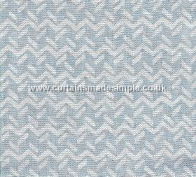 Chiltern - 008 - Pale baby blue 100% linen fabric behind a horizontal zigzag and short dashed line pattern in white