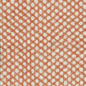 Wicker Linen - 113 - White dots woven into a dark orange coloured 100% linen fabric