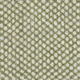 Wicker - Linen - N-114 - Dark green-grey coloured 100% linen fabric woven with a design of small pale grey-white coloured dots