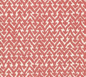 Cotton - Rabanna - Zigzags with arrow-like points printed horizontally across fabric made from 100% cotton in white and coral colours