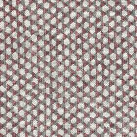Wicker Linen - 117 - Small off-white dots with light grey and aubergine coloured triangles woven into 100% linen fabric