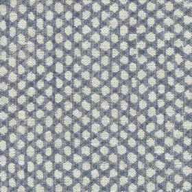 Wicker Linen - 118 - Dusky blue and chalk white coloured dots woven into fabric made from 100% linen
