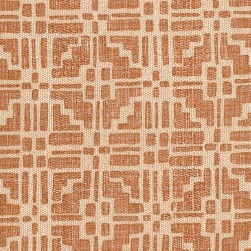 Calimanco - Union - CALI-003 - Light beige fabric made out of cotton linen union decorated with symmetrical Calimanco pattern in bright brow