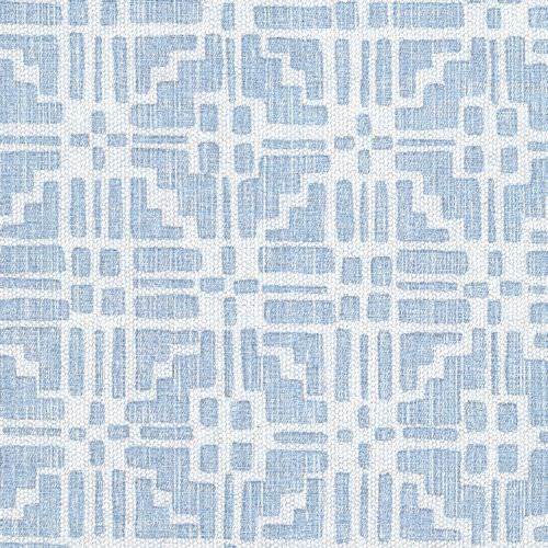 Calimanco - Union - CALI-008 - Light blue cotton and linen union fabric featuring multiple geometric shapes forming a regular pattern