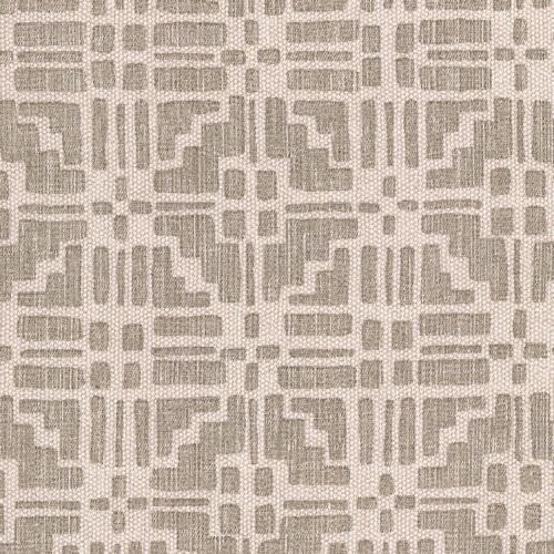 Calimanco - Union - CALI-009 - Beige fabric made out of cotton linen union decorated with a pattern of regular geometric shapes in grey